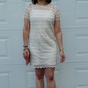 LOFT cream chevron shift dress NWT